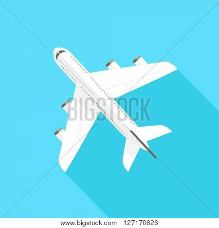 Flying airplane - flat design style. Can be used to illustrate topics like tourism, travel, transportation, holidays.