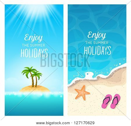 Summer holidays banners - traveling to tropical destinations, relaxation on the beach.