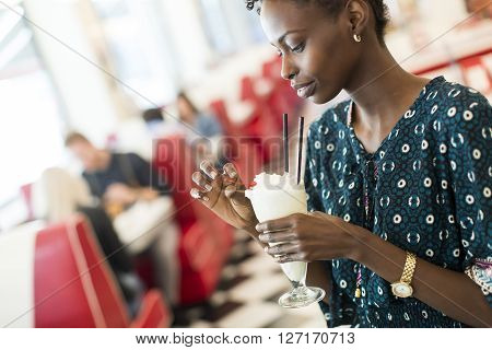 Woman Drinking Milkshake