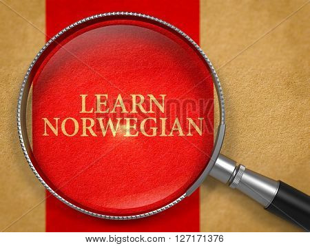 Learn Norwegian Concept through Magnifier on Old Paper with Red Vertical Line Background. 3D Render.