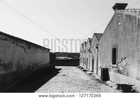 Black and white picture of a rural small village in Portugal