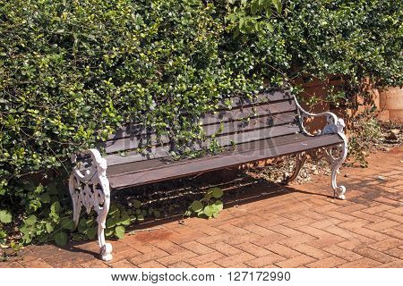 Vintage Park Bench Covered With Foliage On Walkway