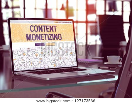 Content Monetizing Concept - Closeup on Landing Page of Laptop Screen in Modern Office Workplace. Toned Image with Selective Focus. 3D Render.