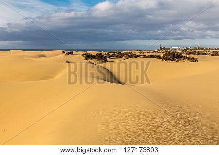 Maspalomas Sand Dunes And City During Sunrise - Maspalomas Gran Canaria Canary Islands Spain