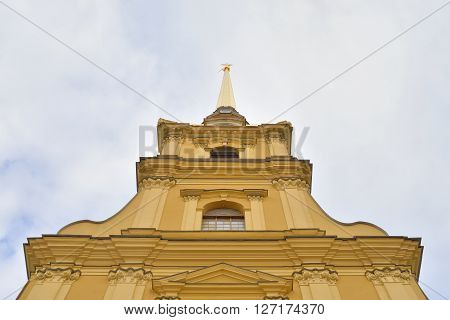 Spire of Peter and Paul Cathedral in St.Petersburg Russia.