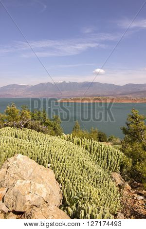View over Barrage Bin El-Ouidane lake high Atlas Morocco.