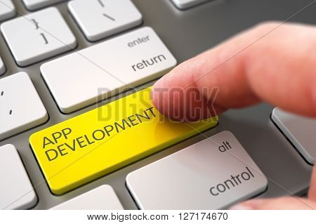 Hand Finger Press App Development Button. App Development - Metallic Keyboard Concept. Hand of Young Man on App Development Yellow Key. 3D Illustration.