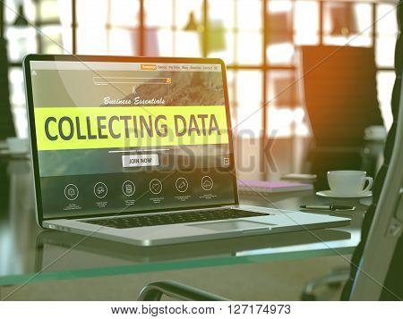 Collecting Data Concept Closeup on Laptop Screen in Modern Office Workplace. Toned Image with Selective Focus. 3D Render.
