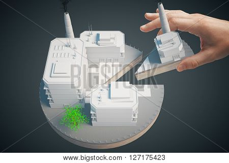 Shareholder concept with hand taking piece of business pie on dark background. 3D Rendering