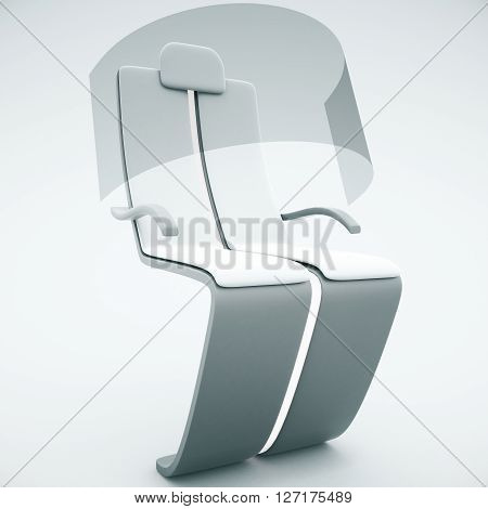 Sideview of futuristic chair with shield on light background. 3D Rendering