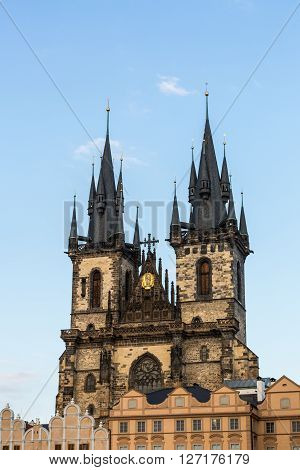PRAGUE CZECH REPUBLIC - FEBRUARY 26, 2015: Exterior views of famous buildings and landmarks in Prague Czech Republic on February 26, 2015. Prague is the capitol city of Czech Republic.