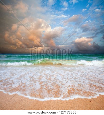 beach and stormy sea