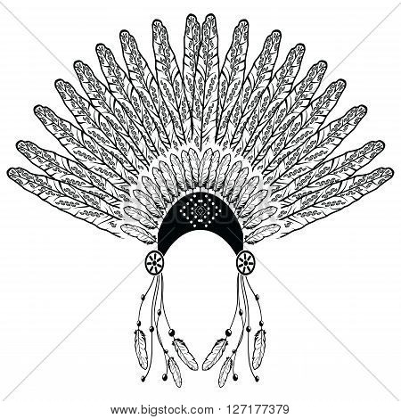 Aztec, ethnic style headdress with decorative and plain feathers, beads symbolizing native  American warrior, tribes culture in black and white with decorative ornaments