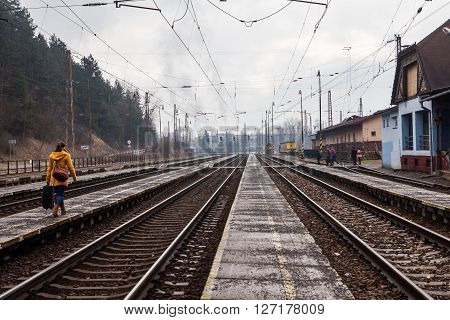 Train Is Arriving Into The Railway Station Of Ruzomberok, Slovakia