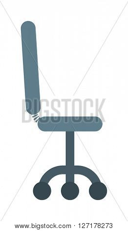 Black leather office chair furniture, seat armchair, business comfortable equipment design vector.