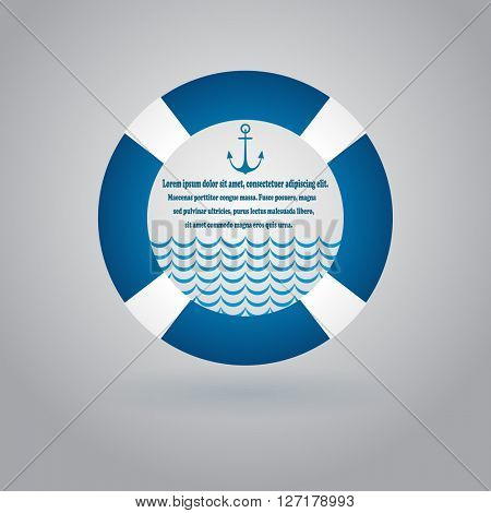 Abstract white and blue lifebuoy background with copy space.