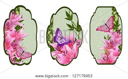 Set labels. Card invitation business card. Flower pattern. Set for packaging. Box round. Label. decoupage. Floral background. Flower border. Pattern. Mosaic. Flowers. Flower garland of lilies bright butterfly.