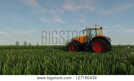 3d illustration of yellow tractor ijn green grass field