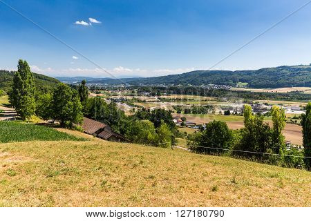 View from Mountain Lagern to the village of Wettingen at day on July 21 2015. Wettingen is a municipality in the Swiss canton of Aargau.