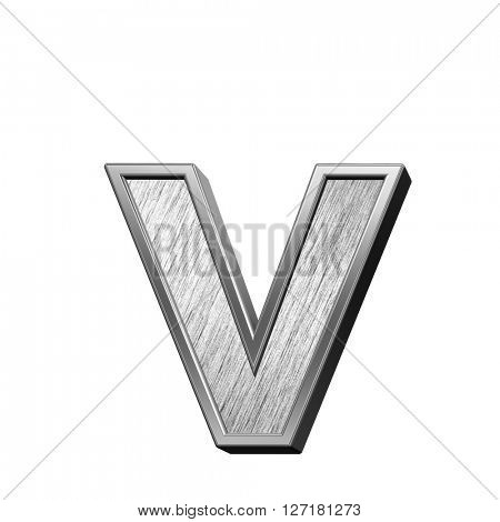 One lower case letter from brushed stainless steel alphabet set, isolated on white. 3D illustration.