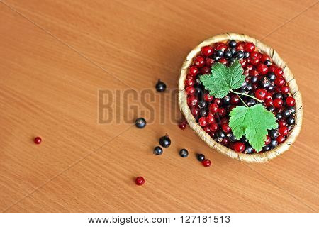 Red and black currants collected in a small wicker basket. The basket stands on a wooden surface. Above are a few green leaves of currant.