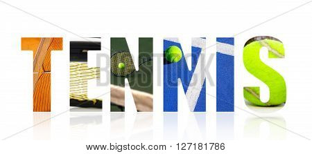 Tennis text illustration with assorted tennis images on white