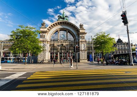 Lucerne, Switzerland - August 2: Views Of The Famous Old Railway Station Gate In Lucerne On August 2