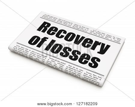 Banking concept: newspaper headline Recovery Of losses on White background, 3D rendering