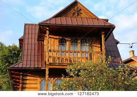 Part of wooden house in the countryside in mountain style.