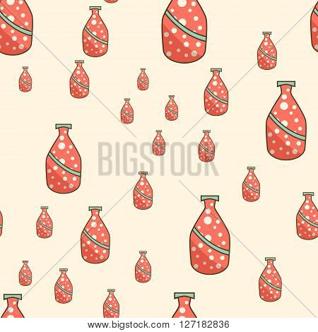 Bottles of soda  seamless pattern. Vector illustration for backgrounds and patterns.