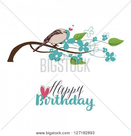 Tree branch in bloom and cute bird singing love