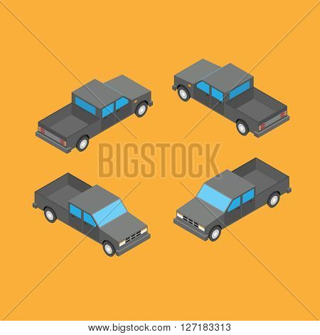 isometric double cab pickup truck on the blue background