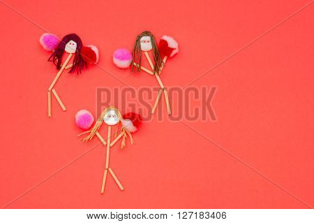 Cheerleader buttonhead stick figure girls pink and red pompoms
