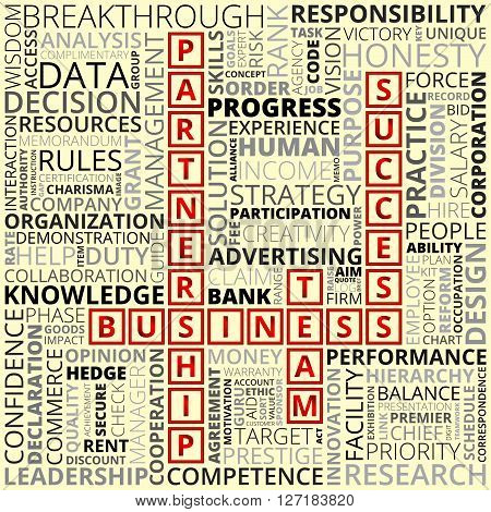 Horizontal and vertical placed business and finance related words of red black and grey colors on beige background. Abstract business words concept. Business and finance related words background