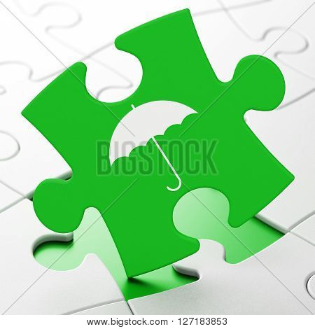 Privacy concept: Umbrella on Green puzzle pieces background, 3D rendering