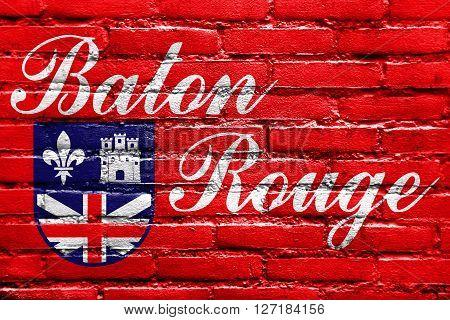 Flag Of Baton Rouge, Louisiana, Painted On Brick Wall