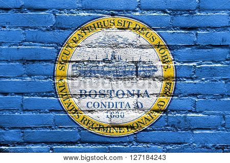 Flag Of Boston, Massachusetts, Painted On Brick Wall