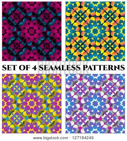 Set of 4 abstract stylish decorative seamless patterns of blue violet purple orange red yellow pink grey white and teal shades