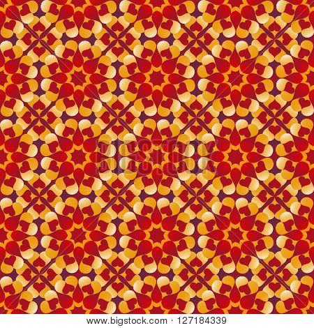 Abstract romantic Valentine's seamless pattern with flowers of red violet and yellow gradient heart shapes on red and violet gradient background