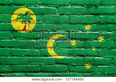 Flag Of Cocos Islands, Painted On Brick Wall
