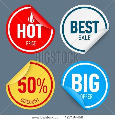 Set of round paper color sticker isolated on white background