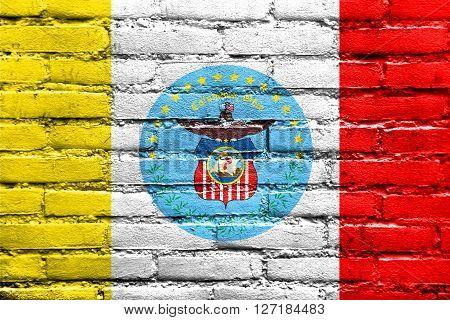 Flag Of Columbus, Ohio, Painted On Brick Wall