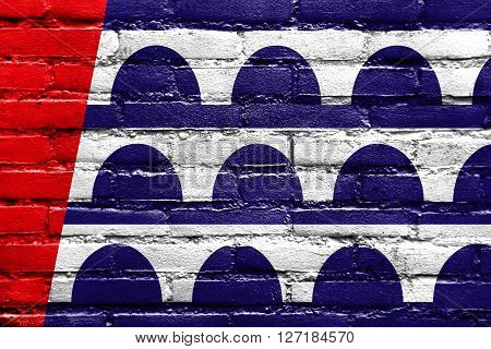 Flag Of Des Moines, Iowa, Painted On Brick Wall