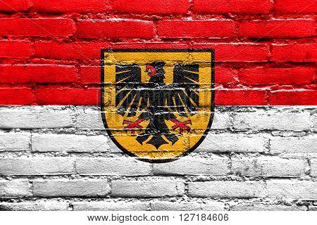 Flag Of Dortmund, Painted On Brick Wall