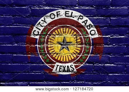 Flag Of El Paso, Texas, Painted On Brick Wall