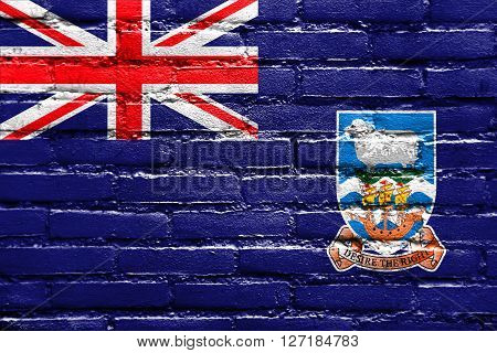 Flag Of Falkland Islands, Painted On Brick Wall