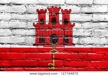Flag Of Gibraltar, Painted On Brick Wall