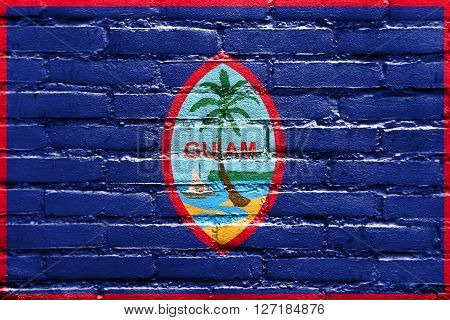 Flag Of Guam, Painted On Brick Wall