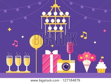 Event , Party and Celebration Flat Style Vector Illustration