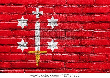 Flag Of Haarlem, Painted On Brick Wall